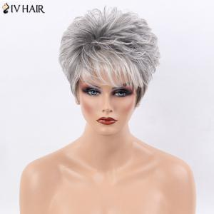 Siv Hair Ultra Short Shaggy Side Bang Straight Colormix Human Hair Wig