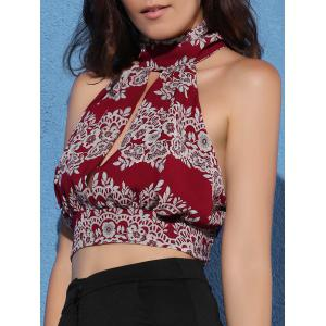Cut Out Tie Back Sleeveless Crop Top -