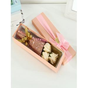 Simulation Rose Soap Flowers Bouquet Festival Gift - CHAMPAGNE
