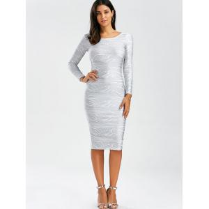 Sexy Scoop Neck Long Sleeve Bodycon Backless Women's Dress - WHITE L
