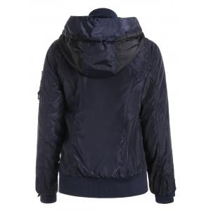 Stylish Hooded Long Sleeve Zip Up Spliced Women's Coat - PURPLISH BLUE S