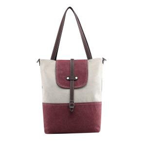 Canvas Color Block Shoudler Bag - Purplish Red - 38