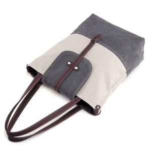 Canvas Color Block Shoudler Bag -