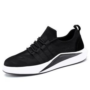 Suede Insert Printed Casual Shoes -