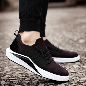 Suede Insert Printed Casual Shoes