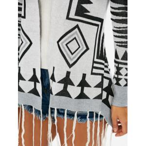 Fashionable Geometric Pattern Tassel Embellished Long Sleeve Cardigan For Women - COLORMIX S