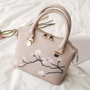 Faux Leather Blossom Embroidered Handbag - Beige - 43