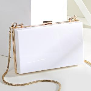 Snake Chain Metal Trimmed Evening Bag - Blanc