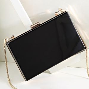 Snake Chain Metal Trimmed Evening Bag - BLACK