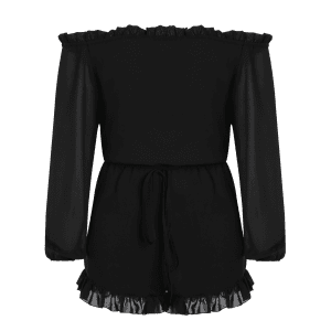 Stylish Off The Shoulder Long Sleeve Solid Color Romper For Women - BLACK 3XL