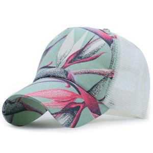 Mesh Spliced Plant Paiting Printing Baseball Hat - White - One Size