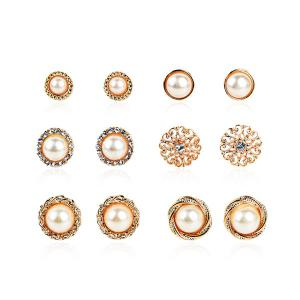 Rhinestone Artificial Pearl Circle Flower Earring Set - Golden