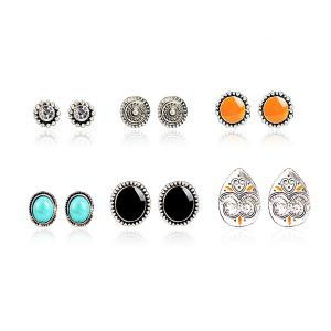 Faux Turquoise Rhinestone Circle Stud Earring Set - Multicolor