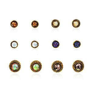 Artificial Gemstone Circle Stud Earring Set