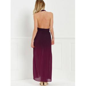 Halter Long Ombre Pleated Backless Prom Dress -