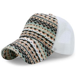 Mesh Splicing Wavy Rhombic Printed Baseball Hat - White - M