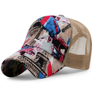 British Element Printed Mesh Splicing Baseball Hat - Khaki - One Size