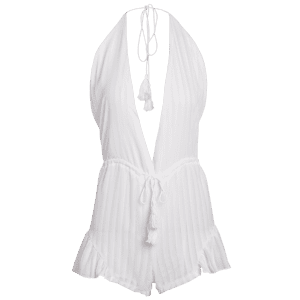 Stylish Halter White Backless Romper - WHITE S
