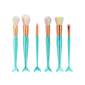MAANGE 6Pcs Mermaid Colorized Brush Hair Makeup Brushes Set - MINT