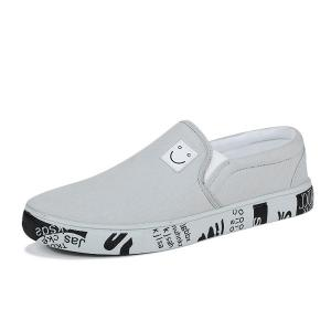 Flat Emoji Slip On Canvas Shoes - GRAY 43