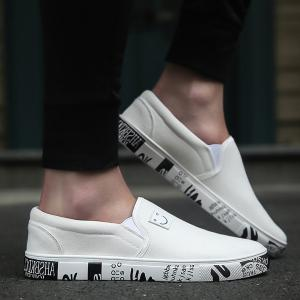 Flat Emoji Slip On Canvas Shoes - White - 40