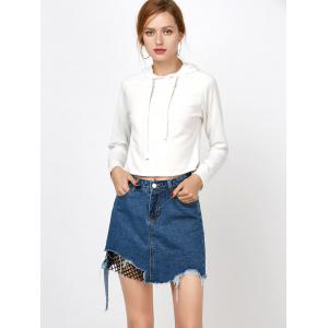 Ripped A Line Jean Skirt with Fishnet - DENIM BLUE M