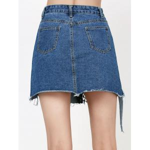 Ripped A Line Jean Skirt with Fishnet - DENIM BLUE L