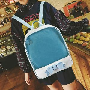 Bow Jelly Color Block Backpack - BLUE