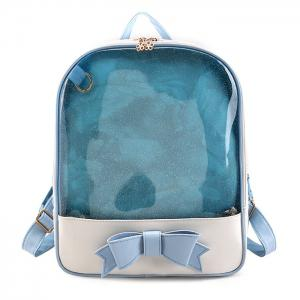 Bow Jelly Color Block Backpack - Blue - 2xl