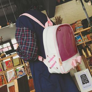 Bow Jelly Color Block Backpack - PINK