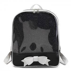 Bow Jelly Color Block Backpack - Black - 40