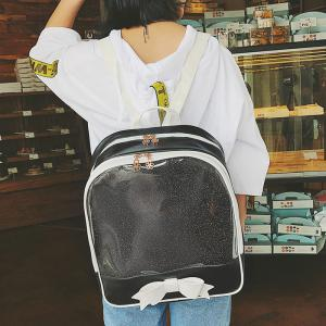 Bow Jelly Color Block Backpack - BLACK