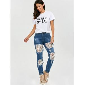 Lace Insert Ripped Skinny Jeans -