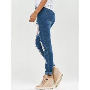 Lace Insert Ripped Skinny Jeans - DENIM BLUE S