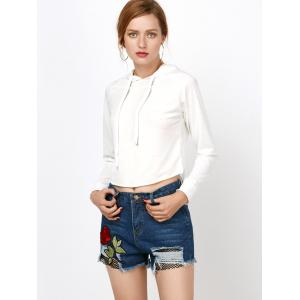 Rose Embroidered Ripped Jean Shorts with Fishnet - DENIM BLUE S