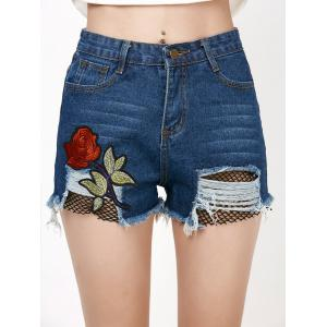 Rose Embroidered Ripped Jean Shorts with Fishnet