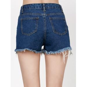 Rose Embroidered Ripped Jean Shorts with Fishnet - DENIM BLUE M