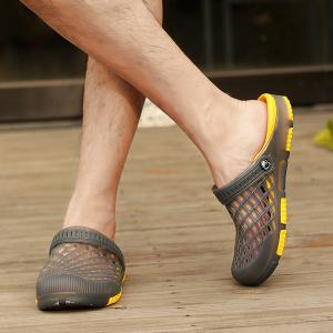 Plastic Hollow Out Slippers - GRAY 44