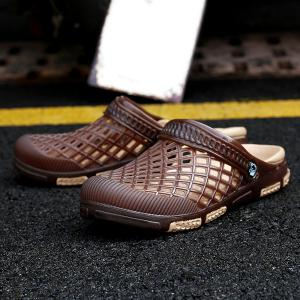 Plastic Hollow Out Slippers - DEEP BROWN 41