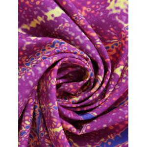 Flower Print Round Tie Dye Beach Throw - PURPLISH RED ONE SIZE