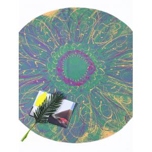 Flower Print Round Tie Dye Beach Throw - Green - One Size