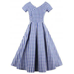 V Neck Checked A Line Dress