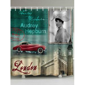 Vintage City Audrey Hepburn Print Shower Curtain