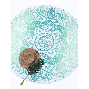 Lotus Flower Round Beach Cover Throw - Green - One Size