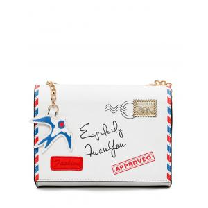 Chain Envelope Printed Crossbody Bag - White - 39
