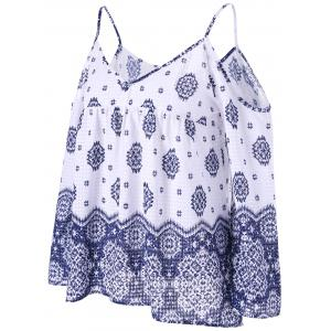 Bohemian Dew Shoulder Smock Blouse - BLUE AND WHITE 2XL