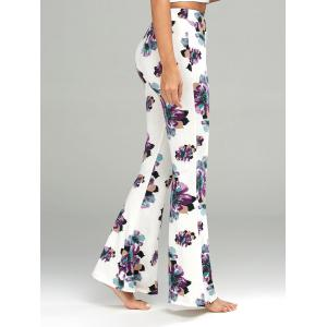 Floral Print Casual Flare Pants - WHITE S
