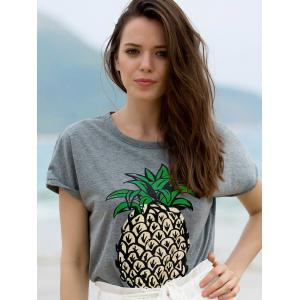 Stylish Round Neck Short Sleeve Fruit Print Women's T-Shirt -