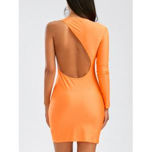 Long Sleeves One-Shoulder Backless Bodycon Club Dress - Orange - M