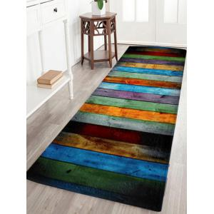 Colorful Stripe Coral Velvet Large Area Rug - W24 Inch * L71 Inch
